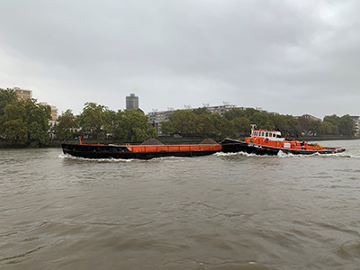 GPS Anglia delivering 700t of aggregate to Pier Wharf Wandsworth